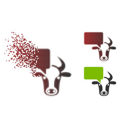 Dissolving pixel halftone cow opinion icon vector