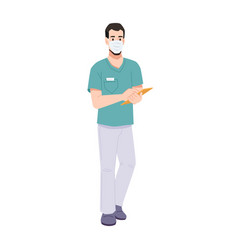 Doctor or surgeon in mask writing on clipboard vector