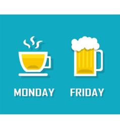 Drinks in different day of the week vector