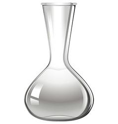Empty glass beaker on white vector image