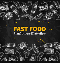 fast food hand drawn frame blackboard jun vector image