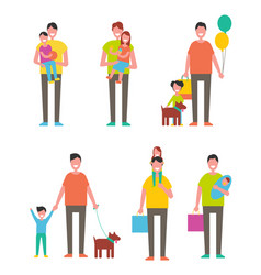fathers day poster dads holding son and daughter vector image