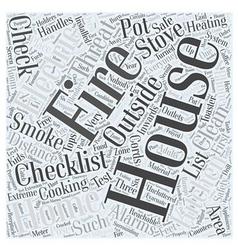 fire safety checklist for home word cloud concept vector image