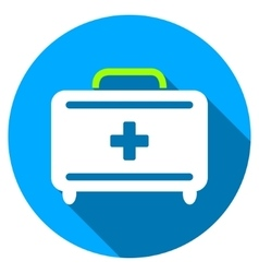 First Aid Toolkit Flat Round Icon with Long Shadow vector
