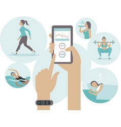 Fitness tracker concept in flat style vector
