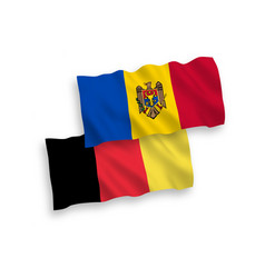 Flags belgium and moldova on a white background vector