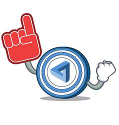 Foam finger maidsafecoin mascot cartoon style vector
