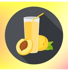 Glass peach apricot juice flat vector