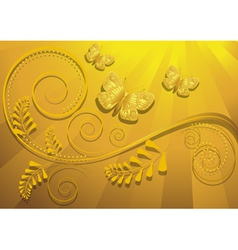 Gold butterfly on yellow radiant background vector
