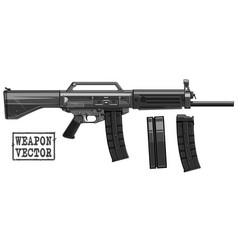 Graphic silhouette modern automatic galil rifle vector
