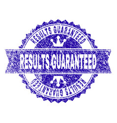 Grunge textured results guaranteed stamp seal with vector