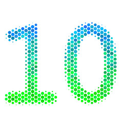 halftone blue-green ten digits text icon vector image