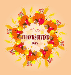 happy thanksgiving wreath vector image