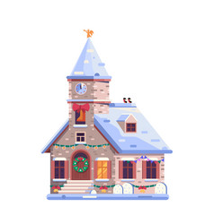 Holiday christmas decorated church icon in flat vector