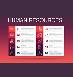 Human resources infographic 10 option templatejob vector