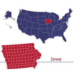iowa map counties with usa map vector image