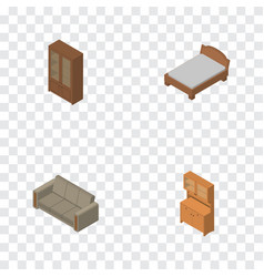 Isometric furnishing set of bedstead cabinet vector