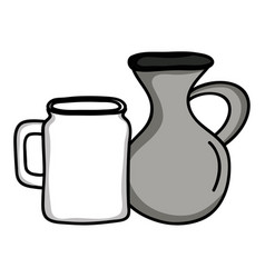 jars canteens pots isolated icons vector image