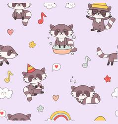 Kawaii raccoon seamless pattern cute animals vector