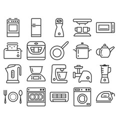 Line icons set some kitchen utensils and home vector