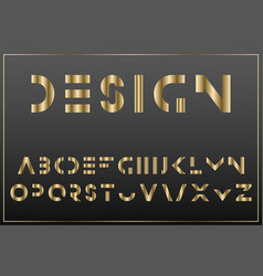 luxury gold minimalistic font english vector image