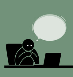 man reading and watching from the computer with vector image