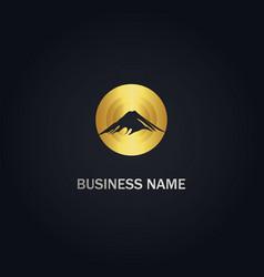 mountain round company gold logo vector image