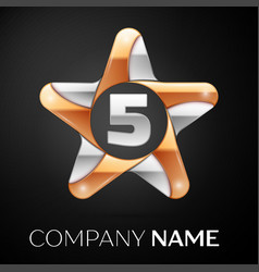 Number five logo symbol in the colorful star on vector