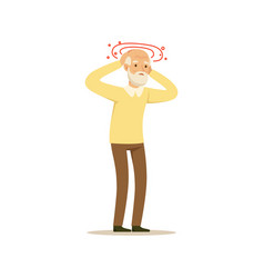 Old male character migraine headache colourful vector