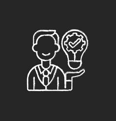 Ownership focus chalk white icon on black vector