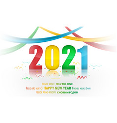 pf 2021 new year with color text and ribbons vector image