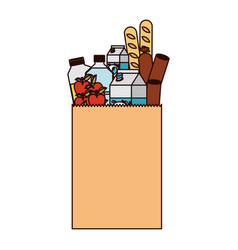 rectangular paper bag with foods sausage and bread vector image