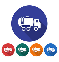 round icon fuel truck flat style with long vector image