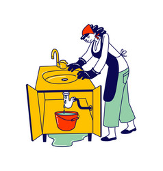 Sad housewife in apron and gloves need plumbing vector