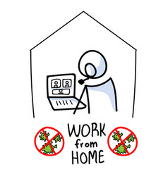 Sars cov 2 crisis work from home banner poster vector