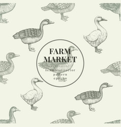 Seamless farm pattern graphical duck and vector