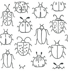seamless pattern with decorative bugs vector image