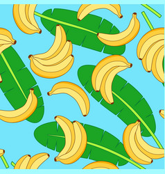 seamless pattern with yellow bananas and green vector image