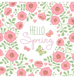 Season card Hello Spring with cute flowers and vector image