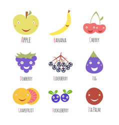 Set alphabet fruits and berries letters letter vector