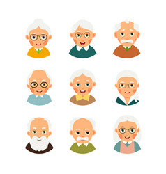 Set avatars older people kit avatars elderly vector