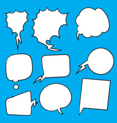 Set hand drawn different empty speech bubble vector
