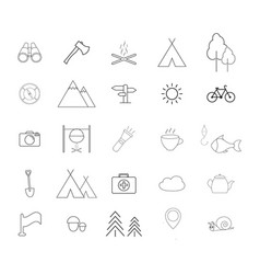 Set of camping activities a line icons vector