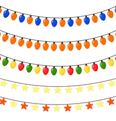 Set of Christmas garlands of stars and lanterns vector image