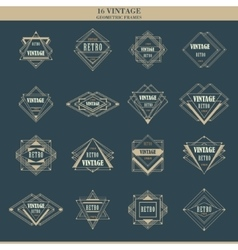 Set of line art deco logotypes frames borders vector image