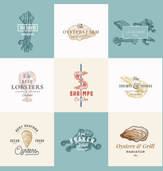 set of premium quality retro seafood signs vector image