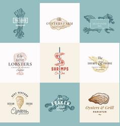 set premium quality retro seafood signs vector image