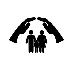 sheltering hands and family pictogram icon vector image