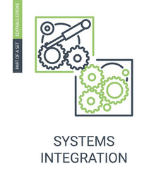 Simple systems integartion icon with cute linear vector