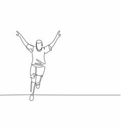 single continuous line drawing young sporty vector image